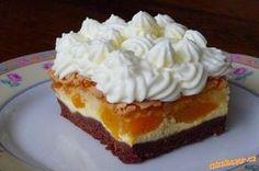 Tříbarevná tvarohová s meruňkami Russian Recipes, Dessert Recipes, Desserts, Pudding, Pie, Baking, Food, Cakes, New Recipes