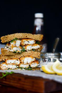 Crispy Fish Finger Sandwich with Arugula, Tartar Sauce and Lemon