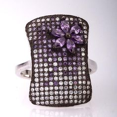 Rectangular Silver Ring With Clear/Purple Cubic Zirconia