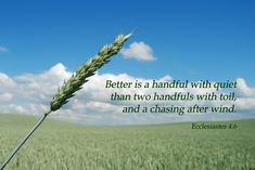 Better is a handful with quiet than two handfuls with toil, and a chasing after wind. Description from 4catholiceducators.com. I searched for this on bing.com/images