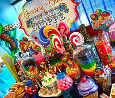 Colourful candy buffet