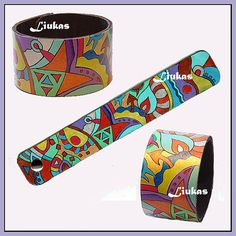 hand-painted leather cuff