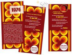 Siebziger Jahre Einladungskarte zum Geburtstag für alle, die 1976 geboren sind, im Retro-Stil!