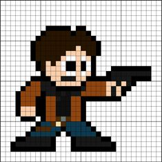Han Solo Perler Bead Pattern Pearler Bead Patterns, Pearler Beads, Fuse Beads, Star Wars Crafts, Han Solo, C2c, 8 Bit, Diy Projects To Try, Venom