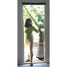 37 In. X 80 In. Black Easy To Install Instant Screen Door With Hardware Included