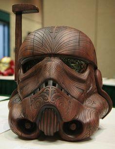 wooden storm trooper helmet mashup