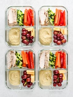 This Chicken & Hummus Plate Lunch Meal Prep is so simple yet incredibly delicious! Get back to basics with some fresh cut bell pepper carrot cucumbers paired with a perfect portion of chicken breast cheese slices and grapes for a touch of sweetness. Lunch Snacks, Lunch Recipes, Healthy Recipes, Keto Recipes, Healthy Meals, Meal Prep Recipes, Summer Lunches, Healthy Lunches For Work, Lunches On The Go