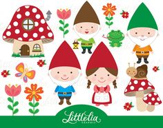 Gnome clipart woodland clipart 15023 by LittleLiaGraphic on Etsy Clipart Noel, Shopping Clipart, Photo Kawaii, Classe D'art, Enchanted Forest Book, Felt Animal Patterns, Clip Art, Kids Prints, Mushrooms