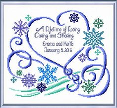 Winter Wedding - cross stitch pattern by Imaginating - A pretty wedding sampler in blues with heart and snowflakes personalised with the bride's and groom's names and date of marriage. Cross Stitch Heart, Cross Stitch Samplers, Cross Stitch Kits, Counted Cross Stitch Patterns, Cross Stitch Designs, Cross Stitching, Cross Stitch Embroidery, Embroidery Kits, Wedding Booklet