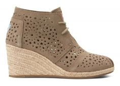Cute Spring shoes! Taupe Moroccan Cutout Women's Desert Wedges | TOMS.com #toms
