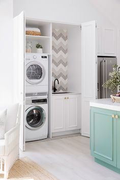 Gorgeous as well as useful small laundry room ideas - It's all also simple for an utility room to become a dark wardrobe packed with washes. A welcoming laundry room will encourage everybody in your house to participate in jobs. Laundry In Kitchen, Laundry Cupboard, Laundry Nook, Tiny Laundry Rooms, Laundry Room Storage, Laundry In Bathroom, Kitchen Cupboards, Compact Laundry, Diy Cabinets