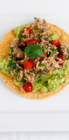 I had a bit of a debate with myself about posting this dish. I mean, it& tuna and a bunch of other stuff on a tostada. Nothing gets cooke. Clean Recipes, Raw Food Recipes, Fish Recipes, Seafood Recipes, Mexican Food Recipes, Cooking Recipes, Healthy Recipes, Authentic Mexican Recipes, Healthy Foods To Eat