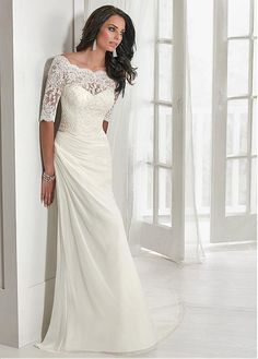 62e856b020e Chic Tulle  amp  Chiffon Off-the-shoulder Neckline Mermaid Wedding Dress  With Beaded
