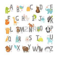 changos caricatura: Alfabeto vector zoo lindo con animales de dibujos animados aislados sobre fondo blanco. Cartas Grunge, gato, perro, tortuga, elefante, panda, cocodrilo, león, cebra Vectores