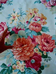 """ANTIQUE FRENCH FABRIC VELVET FLORAL DECOR 59"""" x 34""""roses peonies"""