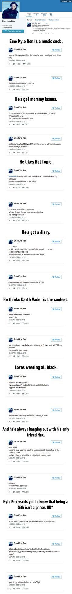 """Emo Kylo Ren"" Will Probably Be Your New Favorite Twitter Parody Account  This is great"