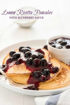 Lemon Ricotta Pancakes are light & fluffy with a delicious homemade blueberry sauce.