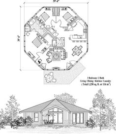 Patio Collection PT-0522 (1250 sq. ft.) 3 Bedrooms, 2 Baths