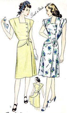 "1940s Misses Summer Wrap Dress Vintage Sewing Pattern, Simplicity 3789 bust 32"" uncut"