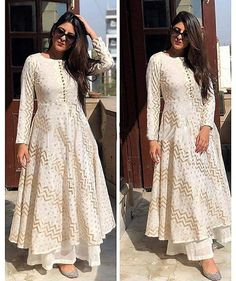 Indian Designer Outfits, Designer Dresses, White Kurta, White Anarkali, Anarkali Kurti, Cotton Anarkali, Sharara, A Line Kurti, Indian Kurta