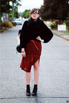 Sheer skirt.