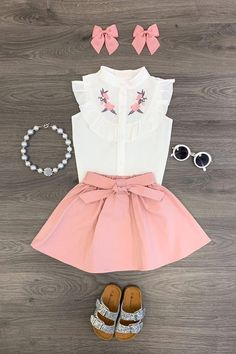 Blush Embroidered Skirt Set– Sparkle In Pink Little Girl Outfits, Kids Outfits Girls, Cute Outfits For Kids, Little Girl Fashion, Toddler Outfits, Kids Fashion, Baby Girl Dresses, Baby Dress, Blush Skirt