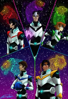 Keith, Shiro, Pidge, Lance and Hunk the Paladins and their lions from Voltron Legendary Defender