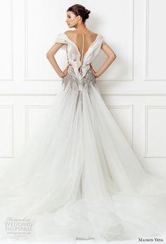 maison yeya 2017 bridal off the shoulder straight across neckline heavily embellished bodice tulle skirt glamorous a line wedding dress sheer back royal train (12a) bv
