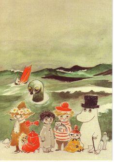 Moomin illustration- Tove Jansson - Varsinaisen esikoisteoksen synnytti sota: Muumit ja suuren tuhotulvan Jansson kirjoitti ensimm.kerran jo talvisodan aikana 1939-1940.Sen sankari Muumipeikko on lähinnä koominen hahmo,sillä kauniisti tai romanttisesti ei satua Janssonin mielestä keskellä sotaa voinut kertoa.