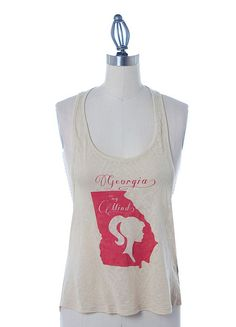 Tan Racerback Abstract Burnout Tank With Georgia On My Mind In Red