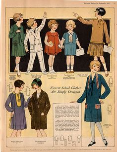 Newest School Clothes Are Simply Designed 20s Fashion, New Fashion Trends, Vintage Fashion, Female Fashion, 1900 Clothing, Vintage Clothing, Vintage Items, Vintage Patterns, Vintage Sewing