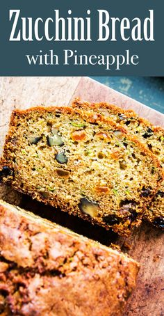 Bread with Pineapple ~ Moist and delicious zucchini bread! A classic version of zucchini bread with the addition of crushed pineapple for added sweetness and moisture. Zucchini Muffins, Zucchini Pineapple Bread, Moist Zucchini Bread, Zucchini Bread Recipes, Recipe Zucchini, Zucchini Cake, Pineapple Recipes, Recipes With Crushed Pineapple, Simply Recipes
