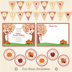 Fall Harvest Pumpkin Birthday Party Package - Invitation, Thank You Card, Banner and Cupcake Toppers - Print Ready Digital Files ID7060 by TreeHouseInvitations on Etsy
