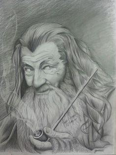 Gandalf (grafites 2b, 4b, 6b e Nero Cretacolor em papel A3