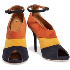 Malone Souliers Sheila suede pumps ($265) ❤ liked on Polyvore featuring shoes, pumps, buckle shoes, high heeled footwear, ankle strap peep toe pumps, high heel pumps and high heel peep toe pumps