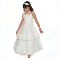 Florence Flower Girl Dress with Lace Trim