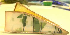 Business card holder made from tiffany style stained glass (discarded, old glass!) Zero lead solder
