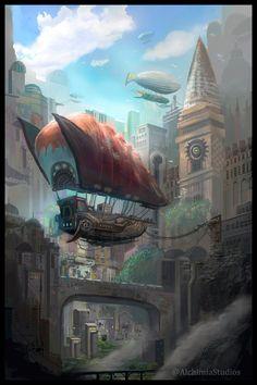 MZLoweRPP verified link on 6/8/2016 Source: Artist's Page on ArtStation.com Artist: Joshua Kratochvil Artist's Title: Airship City