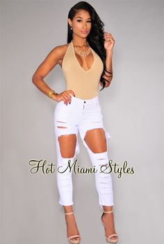 7d3f0d1a95e5 White Ripped Destroyed Ankle Length Skinny Jeans. Miami FashionAnkle  LengthNew WardrobeBarbieHot Miami StylesEveryday ...