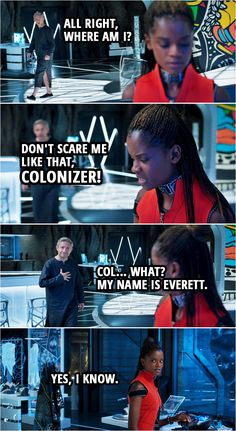 Quote from Black Panther (2018 movie)    Everett Ross: All right, where am I? Shuri: Don't scare me like that, colonizer! Everett Ross: Col... What? My name is Everett. Shuri: Yes, I know.    #BlackPanther #Marvel #Funny #Humor #Quotes Shuri Black Panther, Black Panther 2018, Black Panther Marvel, Marvel Quotes, Funny Marvel Memes, Avengers Memes, Marvel Films, Marvel Avengers, Marvel Women