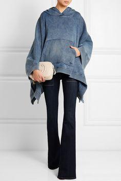 Chloé Denim-effect cotton-blend jersey hooded poncho sweatshirt NET-A-PORTER.COM