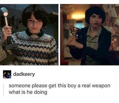 Everyone holds up a weapon of some sort in S2 and then the camera just screens over to mike with a freakin cup