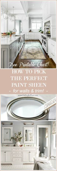 Selecting your sheen of paint depends on the function of the room and the look you are trying to achieve. This helpful paint tips guide with FREE Printable Paint Sheen Chart shows you exactly How To Pick The Perfect Paint Sheen to ensure your walls, cabinetry and trim are washable and hardwearing in the places they need to be. Choosing the finish of your paint is just as important as picking the color! #settingforfour #paint #wall #painting #homedecor #diy #diyhomedecor