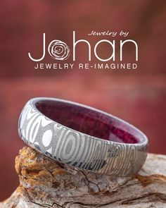 Jewelry by Johan's wedding bands are handmade with unique materials like Damascus Steel and purple heart wood. #JewelrybyJohan