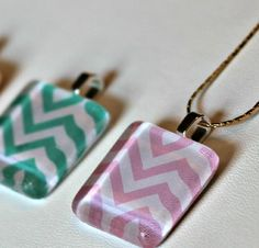 Fun and simple tutorial for making Chevron Glass Tile Pendants.  A cute and easy way to change things up this Spring!