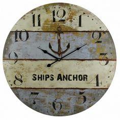 """23"""" Wooden Vintage Ship's Anchor Clock Nautical Decor - P&J Home and Garden Decor"""