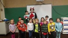 In honor of Dr. Seuss' birthday, a wonderful preschool grandmother came as the Cat in the Hat to read to the Preschool thru 1st grade classes.