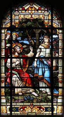 Christus en de Samaritaanse vrouw bij de put vaan Jacob -- by Atelier Frans Nicolas en Zonen, 1920 -- in H. Johannes de Doper, Mechelen