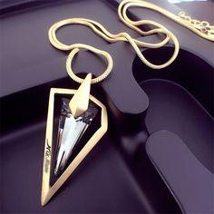 Lemon value dell'annata punk del triangolo di cristallo dei pendenti di fascini di modo maxi oro placcato lunghe collane monili delle donne del regalo tp043