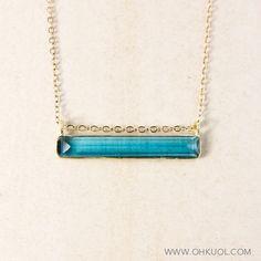 London Blue Quartz Bar Necklace - Gemstone Bar Necklace - Horizontal Bar by OhKuol on Etsy https://www.etsy.com/listing/225619703/london-blue-quartz-bar-necklace-gemstone
